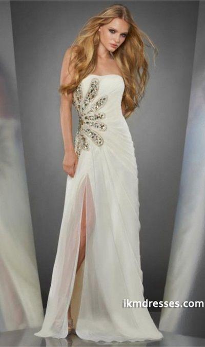 http://www.ikmdresses.com/2014-Strapless-Dress-Pleated-Bodice-Sheath-Full-Length-With-Slit-Beaded-Sweep-Train-Chiffon-p83049
