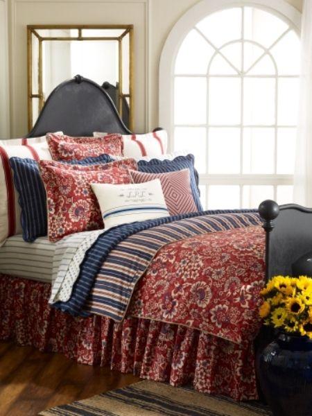 Ralph Lauren Navy Red Bedroom | For Our Dream House | Bedroom red ...
