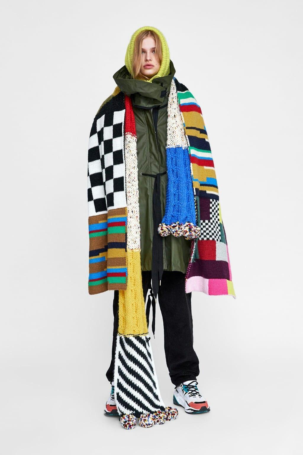 f2124bb733 New season Zara chunky knit multicoloured scarves | OF | Parka ...