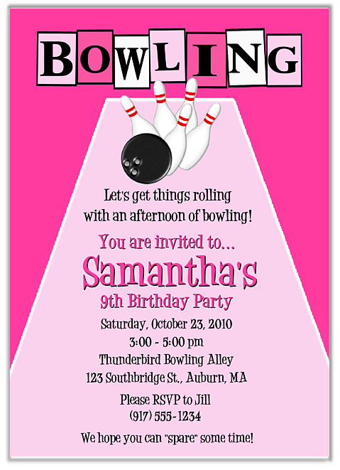 bowling birthday party invitations girl $1.00 each http://www, Party invitations