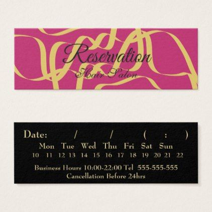 Gold Hair M Salon Reservation Mini Business Card