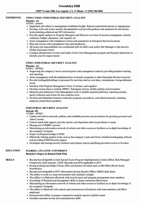 Entry Level Security Analyst Resume New Industrial Security Analyst Resume Samples Project Manager Resume Marketing Resume Customer Service Resume