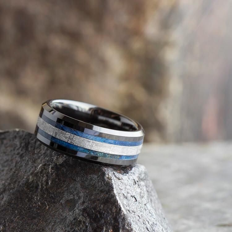 Midnight Blue Ceramic Wedding Band Meteorite Ring With Beveled Edges Box Elder Burl Wood 2544