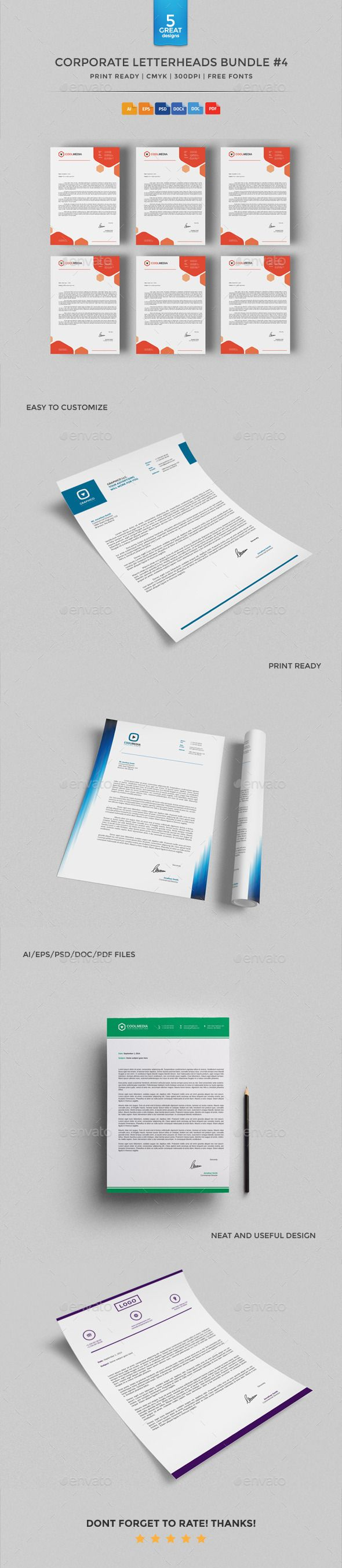 Corporate Letterheads Bundle   Stationery Print Templates The