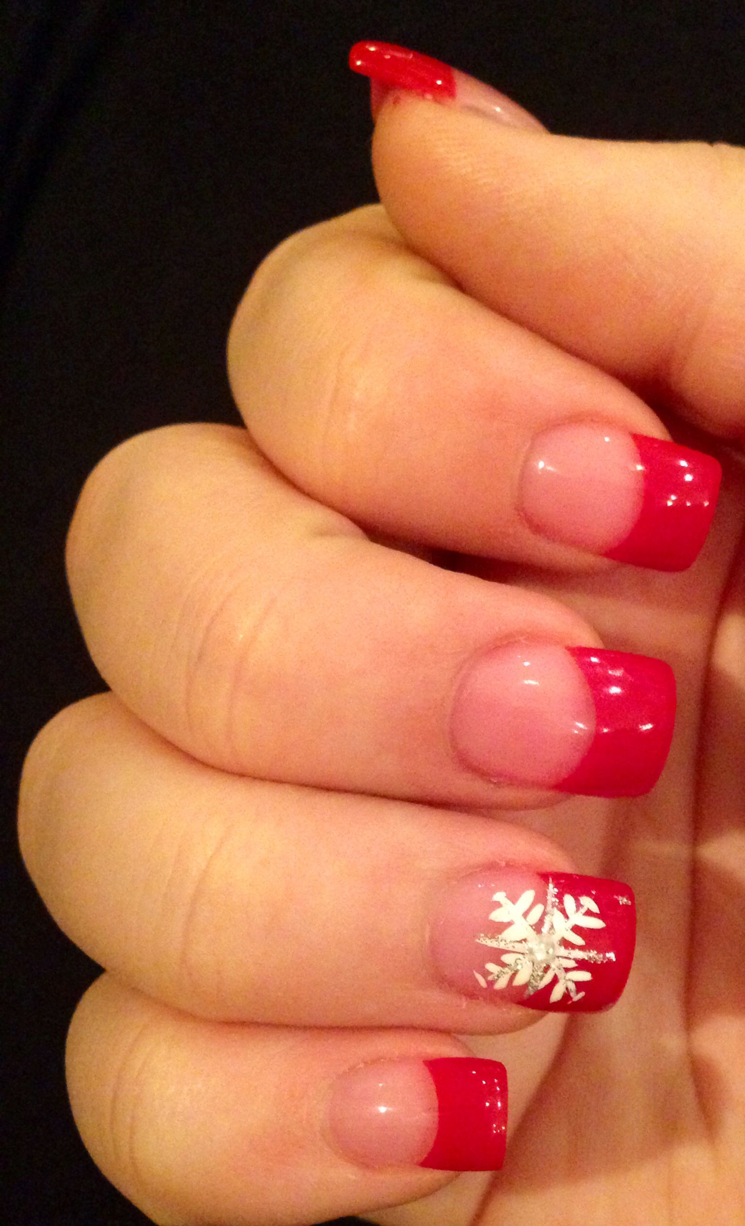 Christmas nail art French manicure red with white snowflake acrylics