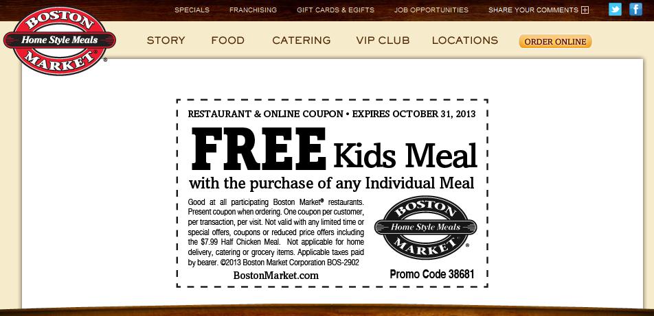 Boston Market Deal! Free printable coupons, Boston