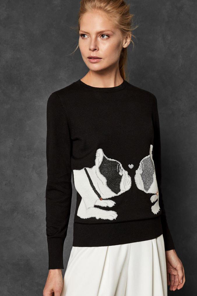 80bc54d7056 Womens Ted Baker Black Bulldog Sweater - Black