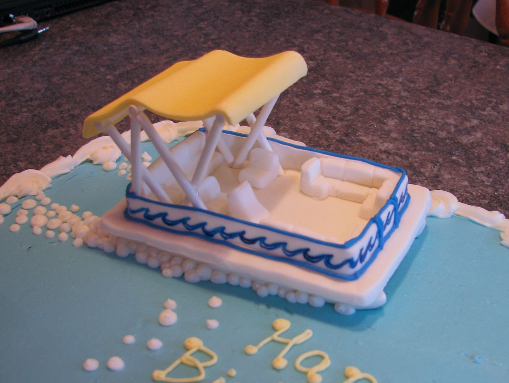 Sensational Fondant Pontoon Boat With Images Boat Cake Ocean Cakes Cake Birthday Cards Printable Trancafe Filternl
