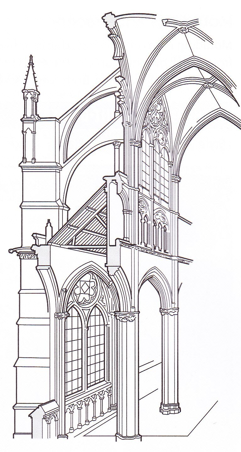 G rib vaulting, flying buttresses pointed arches ... Barrel Vault Diagram