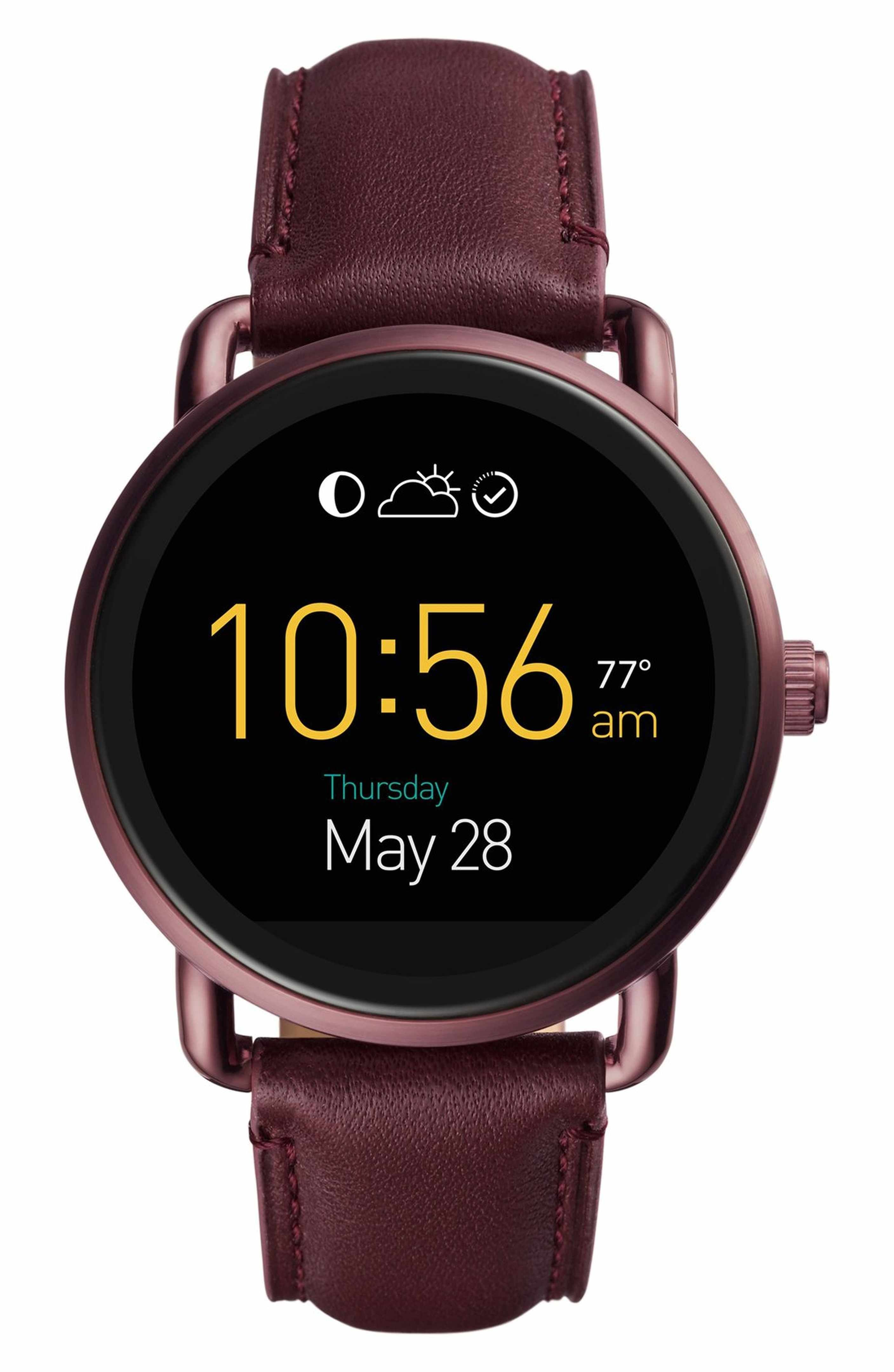 10f8a61f629f Main Image - Fossil Q Wander Leather Strap Digital Smart Watch