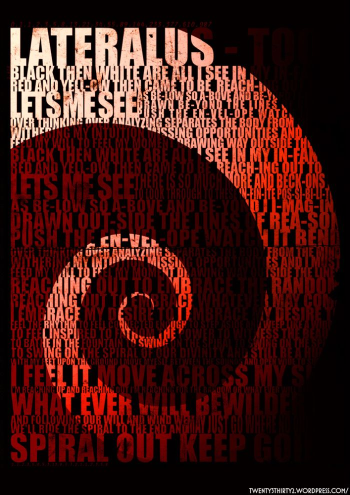 Lateralus Spiral Lyrics Awesome Tool Band Artwork Tool Music Tool Lyrics To descend from the mountaintop. lateralus spiral lyrics awesome tool