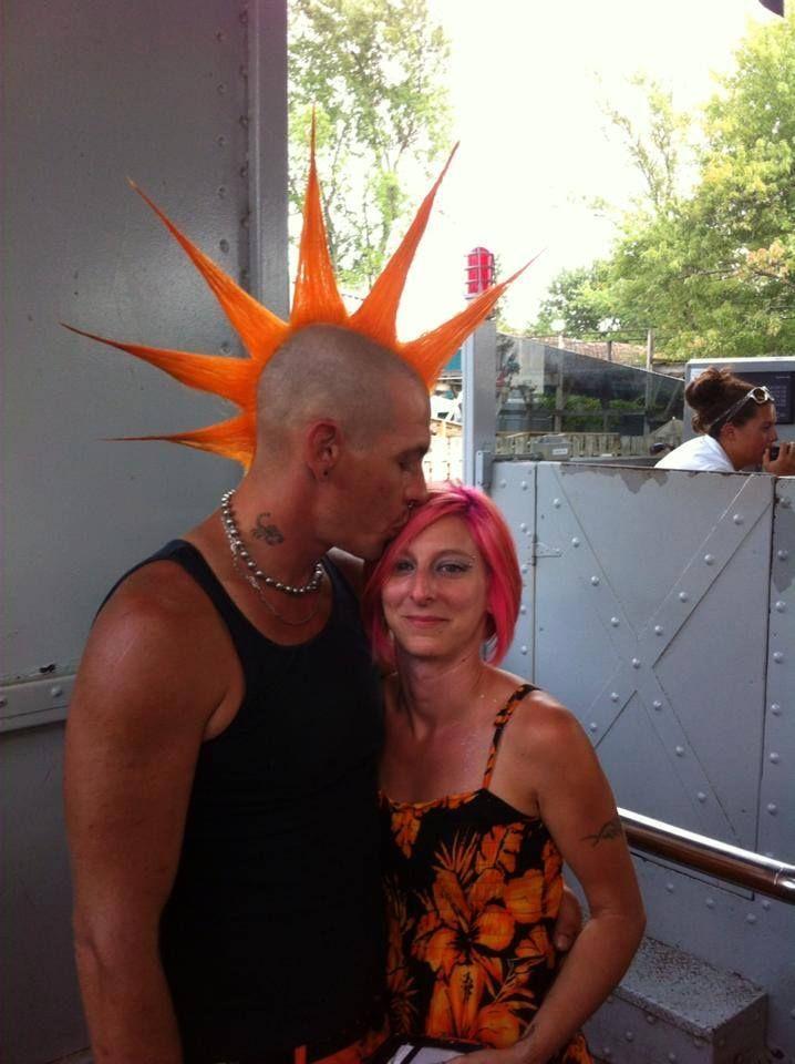 Mohawk with Splat Orange Fireballs | Orange Hair | Punk ...