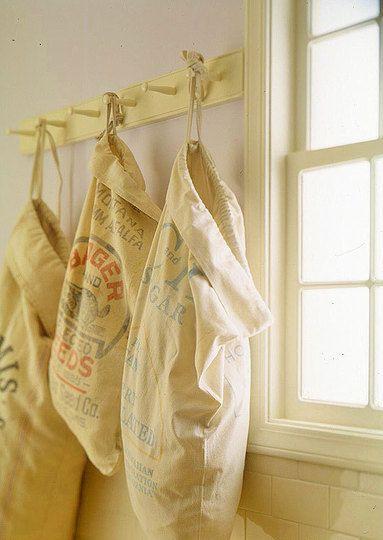 Vintage Flour Sacks Turned Laundry Sorters - Repurposed, Upcycled, and DIY Storage Ideas