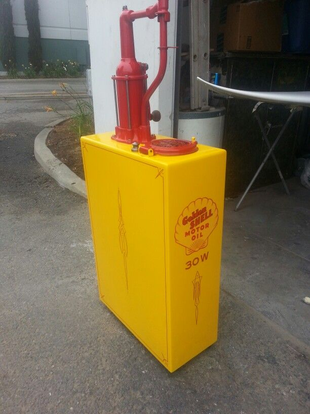 Restored 1930s Bulk Oil Lubester She Ll Yellow With Red Pin Stripe Vintage Oil Cans Oil Dispenser Garage Style