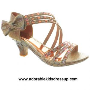 da5b7c8f3b5 gold sparkle strappy high heels for kids with brilliant rose gold gems