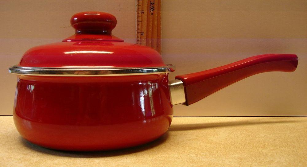 Encore 1 Quart Qt Red Enamel Saucepan W Lid Non Stick Pot Made In Spain Nice Cookware Sets Saucepan Lidded