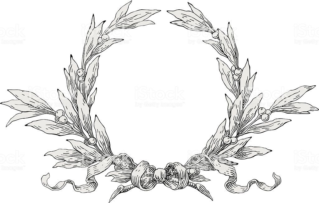 Laurel Wreath Royalty Free Engraved Image Stock Vector In 2020 Laurel Wreath Laurel Wreath Crown Wreaths