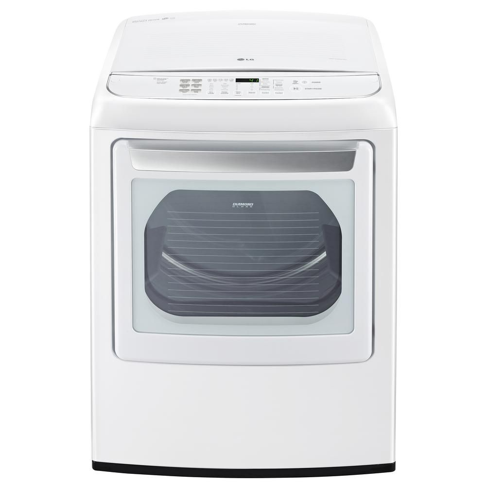 Lg Electronics 7 3 Cu Ft Electric Dryer With Steam In White Energy Star Electric Dryers Gas Dryer Steam Dryer