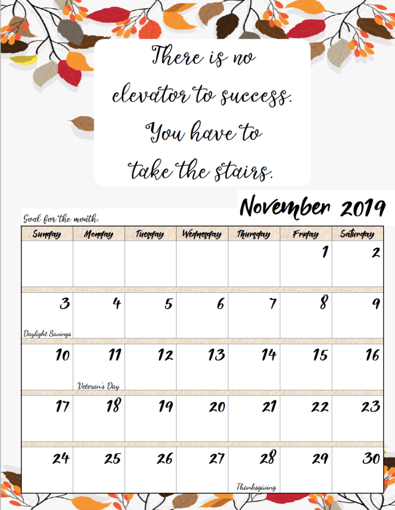 Free Printable 2019 Monthly Motivational Calendars Calendar Quotes Inspirational Quotes Calendar November Calendar