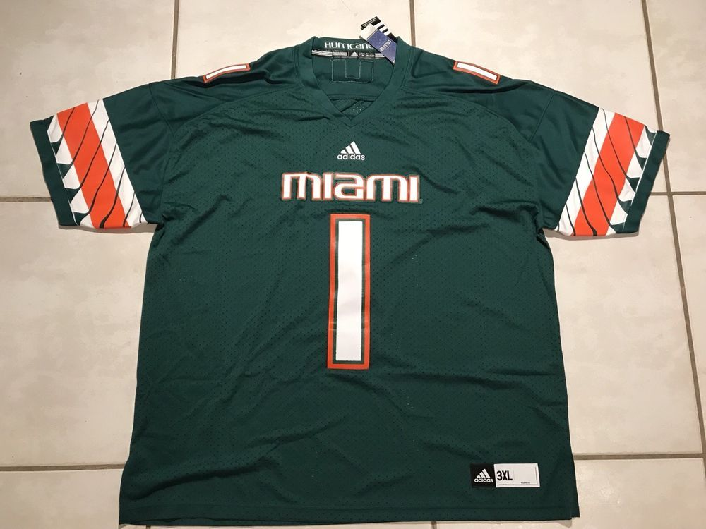 outlet store a85ad d6df9 NWT ADIDAS Miami Hurricanes #1 STITCHED NCAA Premier ...