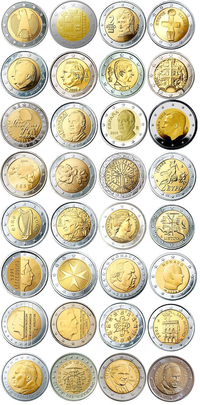 Todas Las Caras Nacionales De Las Monedas De 2 Euros Monedas De Euro Coleccionar Monedas Monedas