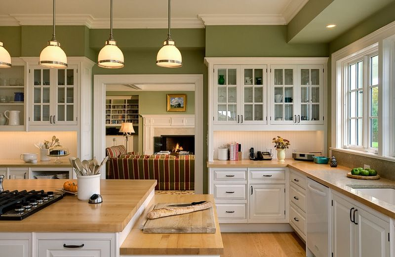 Farmhouse Kitchen By Crisp Architects Loving The Olive Green And