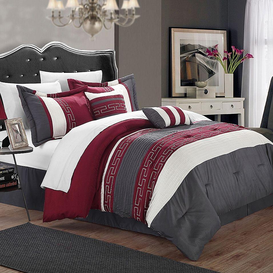 Best Chic Home Coralie 10 Piece Queen Comforter Set In Burgundy 640 x 480
