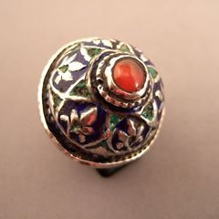 """Silver, carnelian, enamel, Afghanistan   Description :  Enameled work blue and green dominant is highly valued by the nomadic Kushis ... A beautiful design with a farandole of trees of life: a very beautiful old ring and a beautiful patina!  Size:8 adaptable  Weight:23,40 gr  To be sale in my gallery at 28, galerie du Roi at 1000 Brussels or on my website www.halter-ethnic.com under the item """"My Lucky Finds""""..."""