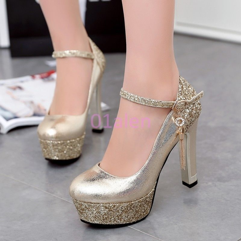 153cc41ef94 Womens Shoes High Block Heel Round Toe Platform Glitter Ankle Strap Gold  Silver