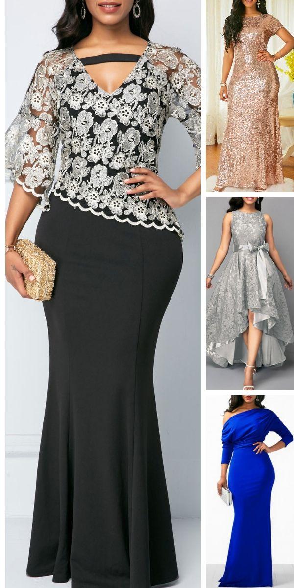 Lace Panel Cutout Front Black Maxi Dress.#rosewe#dress