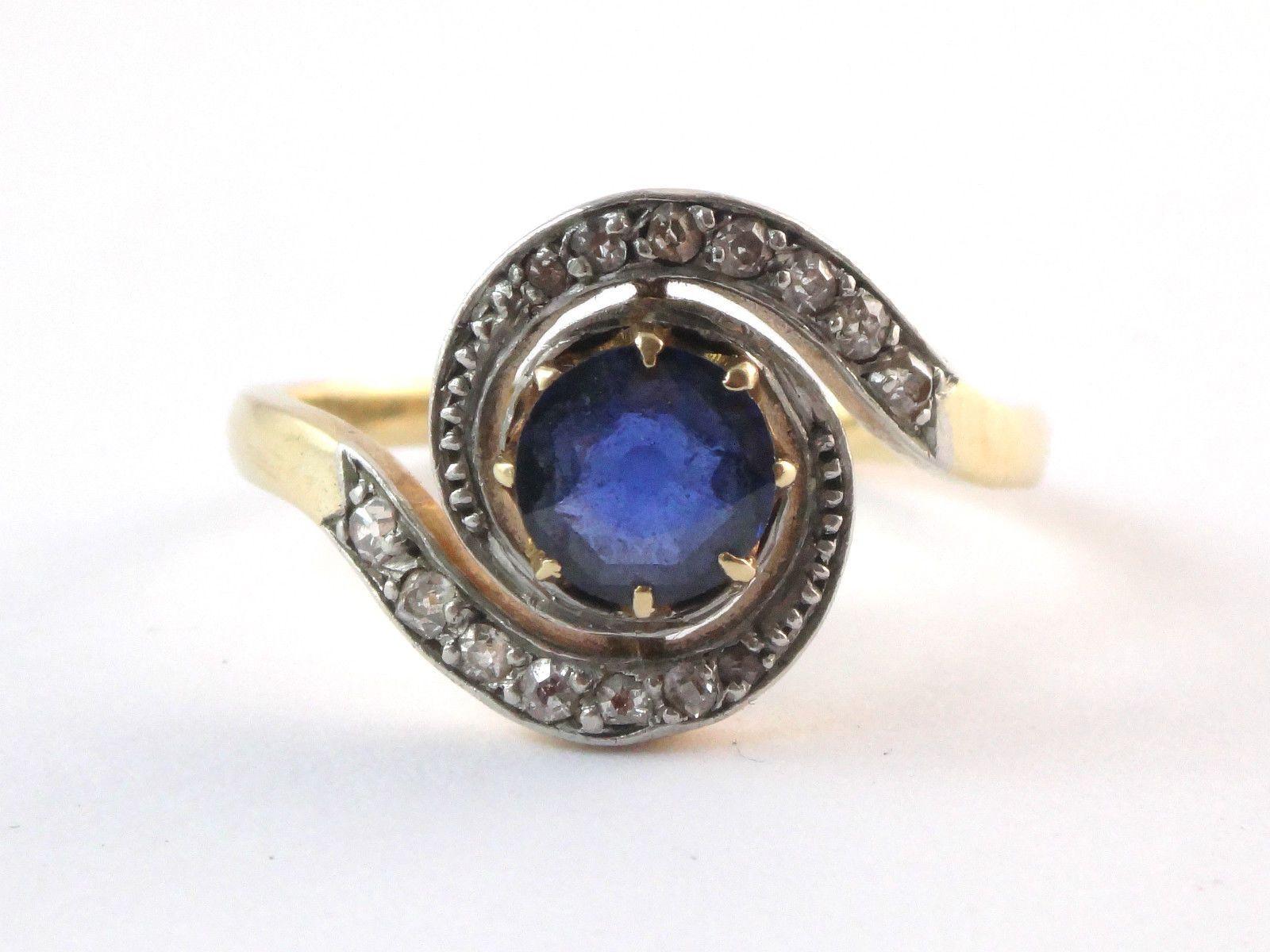 Exceptionnel Superbe ancienne bague tourbillon en or 18k diamants et saphir  FL36