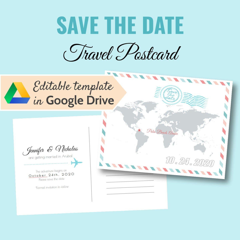 PRINTABLE Travel Destination Wedding postcard save the