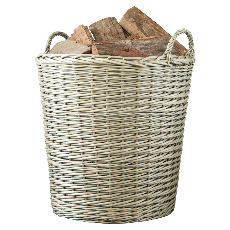 Decofire 450 X 530 X 450mm Grey Wash Prairie Log Basket Bunnings Warehouse Log Baskets Wicker Laundry Basket Basket