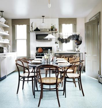 Good Love The Soft Blue Penny Tile Floor For A Kitchen. And The Chairs.