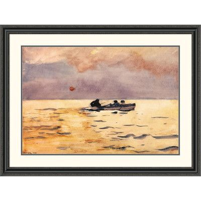 "Global Gallery 'Rowing Home' by Winslow Homer Framed Painting Print Size: 34.73"" H x 46"" W x 1.5"" D"