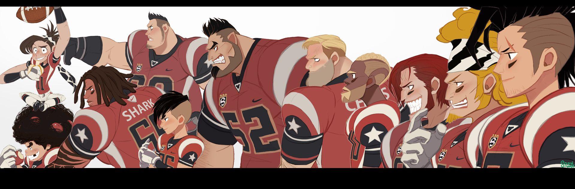 please make a cartoon about this football team football team