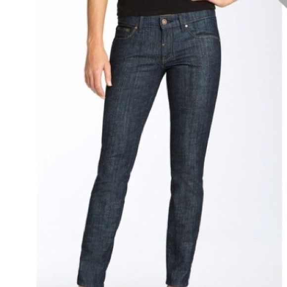 """Easy Money """"Bennie"""" dark wash jeans Subtly branded with signature embroidery on back right pocket in a contrasting shade. Fits so well, very true to size. 2% spandex. Only worn twice. In like-new condition! Bought from Nordstrom, now sold out. Easy Money Jeans"""