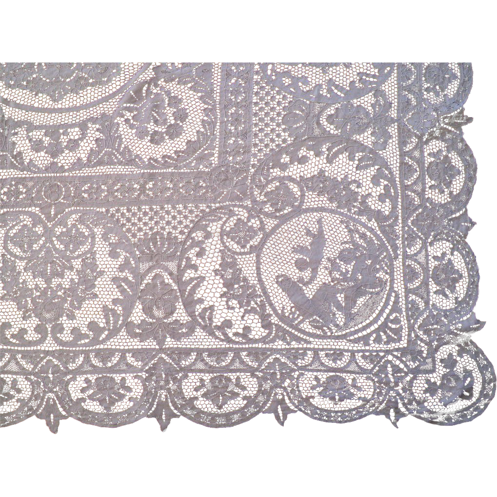 Figural Point Venise Lace Tablecloth C.1920 Vintage Italian Handmade