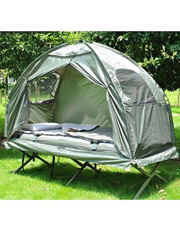 Outsunny tenda singola con brandina da campeggio verde for Brandina da campeggio ikea