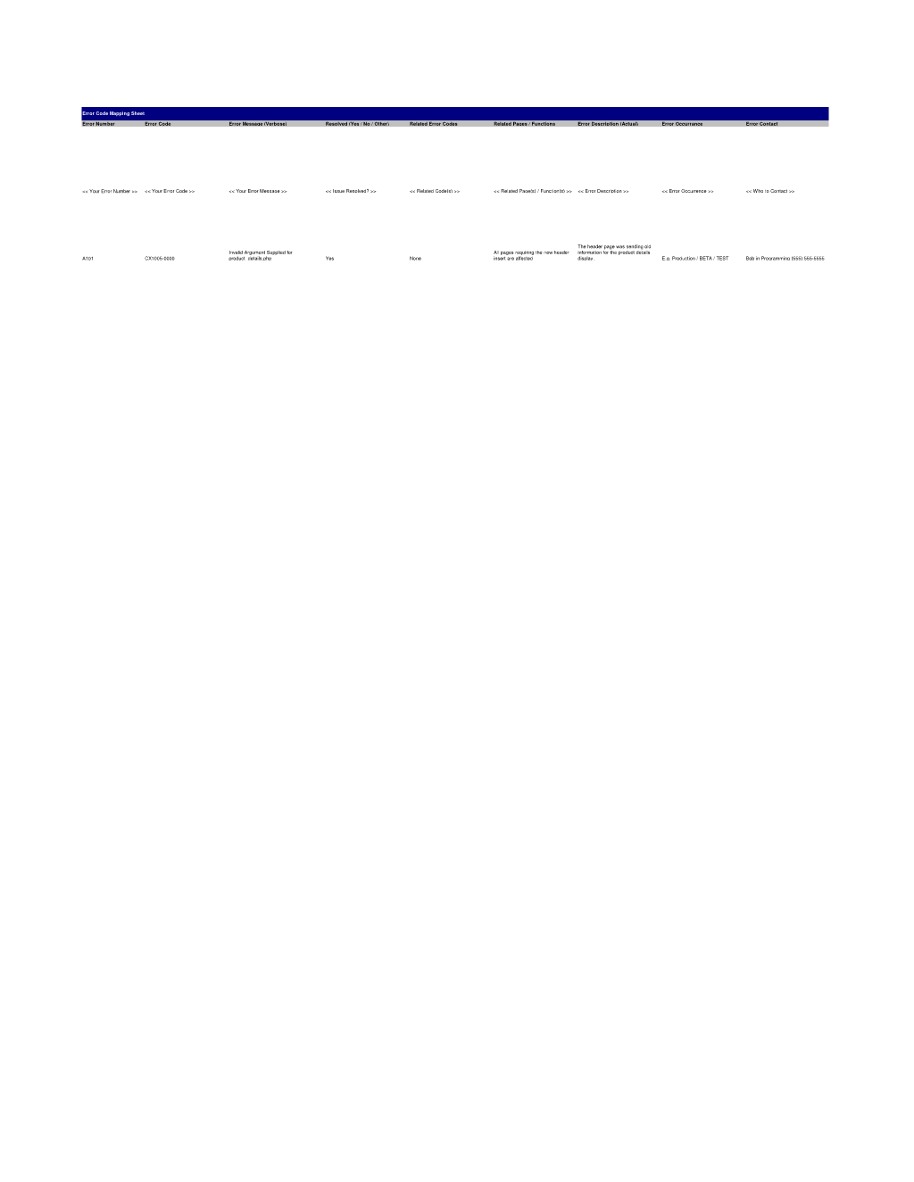 Error Code Mapping Worksheet