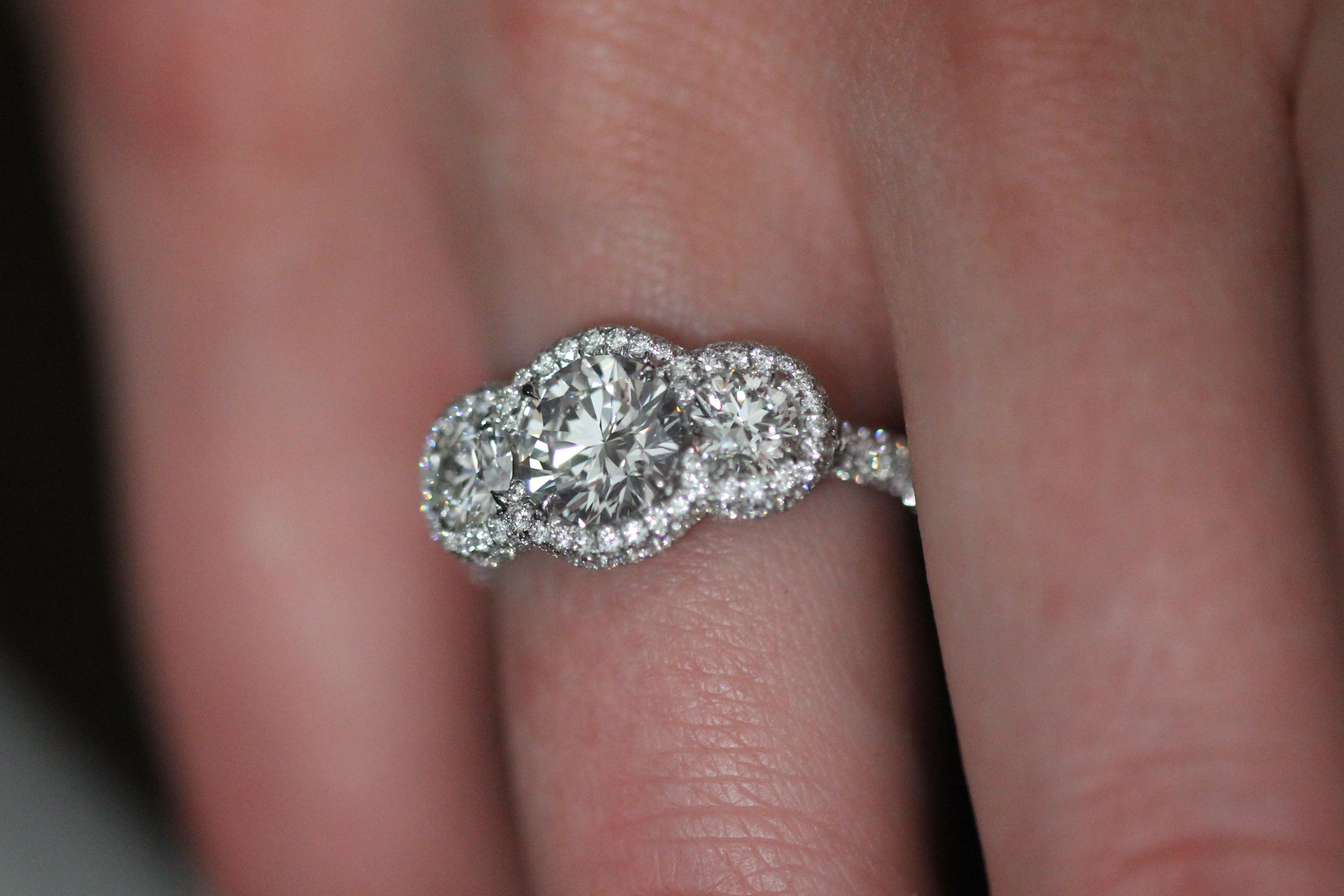 Montpassier™ three-stone diamond engagement ring by Leon Megé