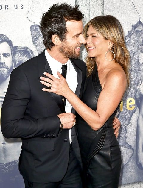 Jennifer Aniston turned heads in a sexy leather minidress while supporting her husband, Justin Theroux, at 'The Leftovers' premiere — see the photos