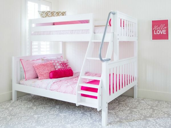 "Modern Slope Twin Over Full Bunk Beds The ""Slope"" is a Maxtrix solid wood quality bunk with an angled ladder and handrail for safe climbing Contemporary - New solid bunk beds Contemporary"