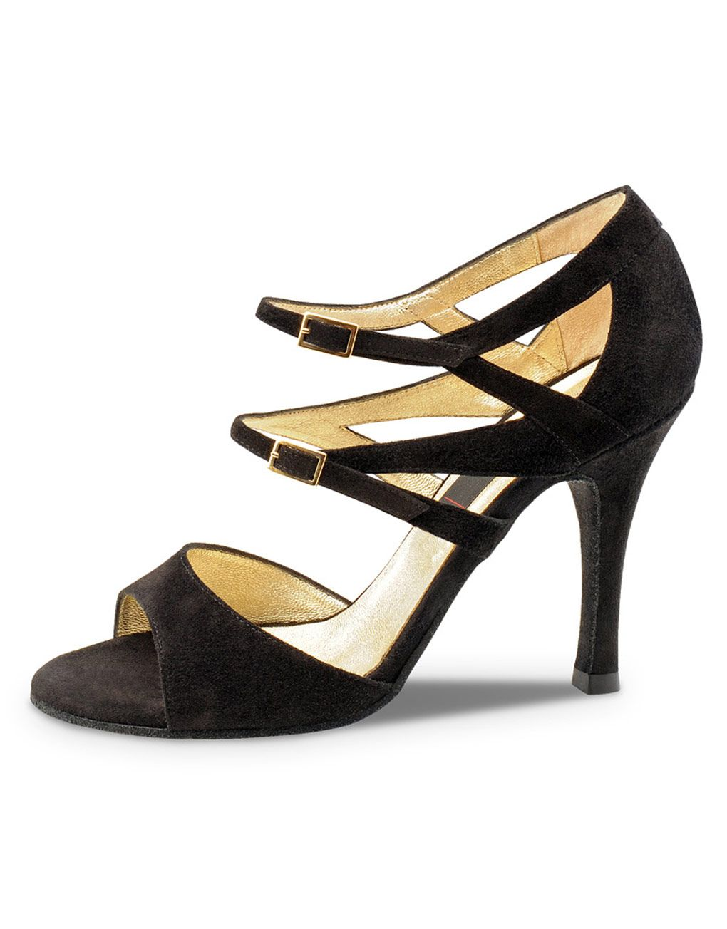 afce8899b2212 Barbara tango, ballroom and salsa dance shoe for women by Nueva Epoca.  Nappa suede black leather with double ankle strap