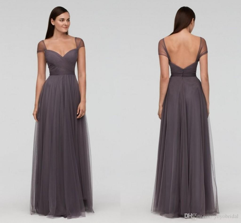 Charming backless 2017 bridesmaid dresses cheap with cap short charming backless 2017 bridesmaid dresses cheap with cap short sleeves tulle long pleated new formal prom dress evening wear gowns dress ombrellifo Choice Image
