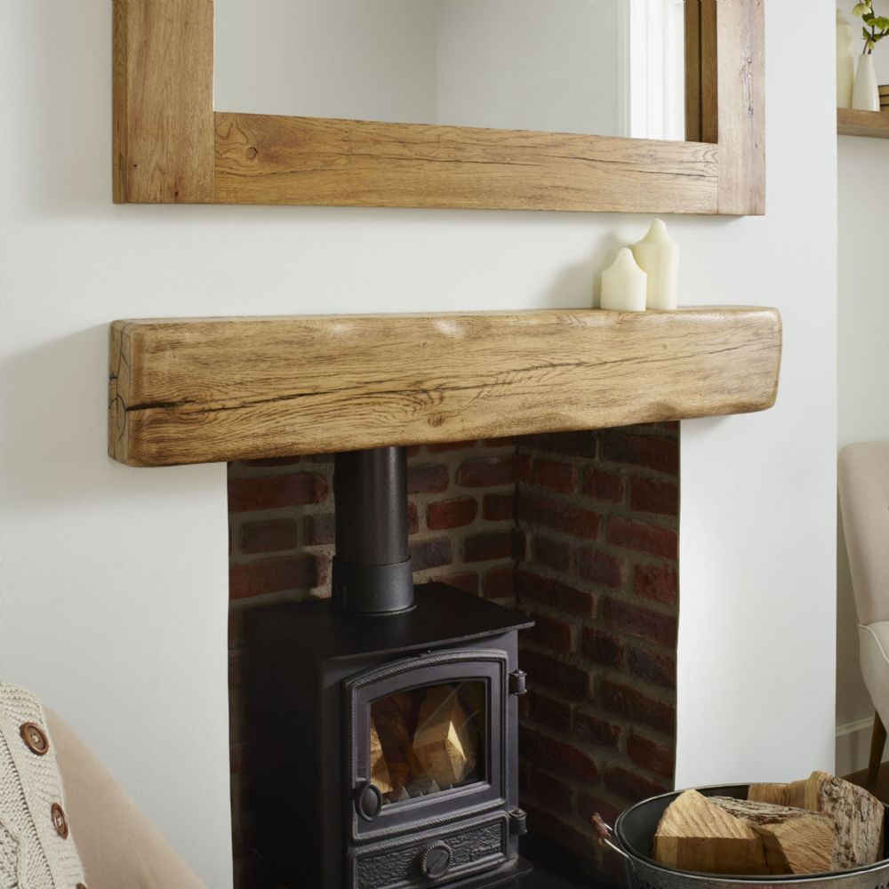Solid Oak Beam Rustic Character Mantel Shelf Aged