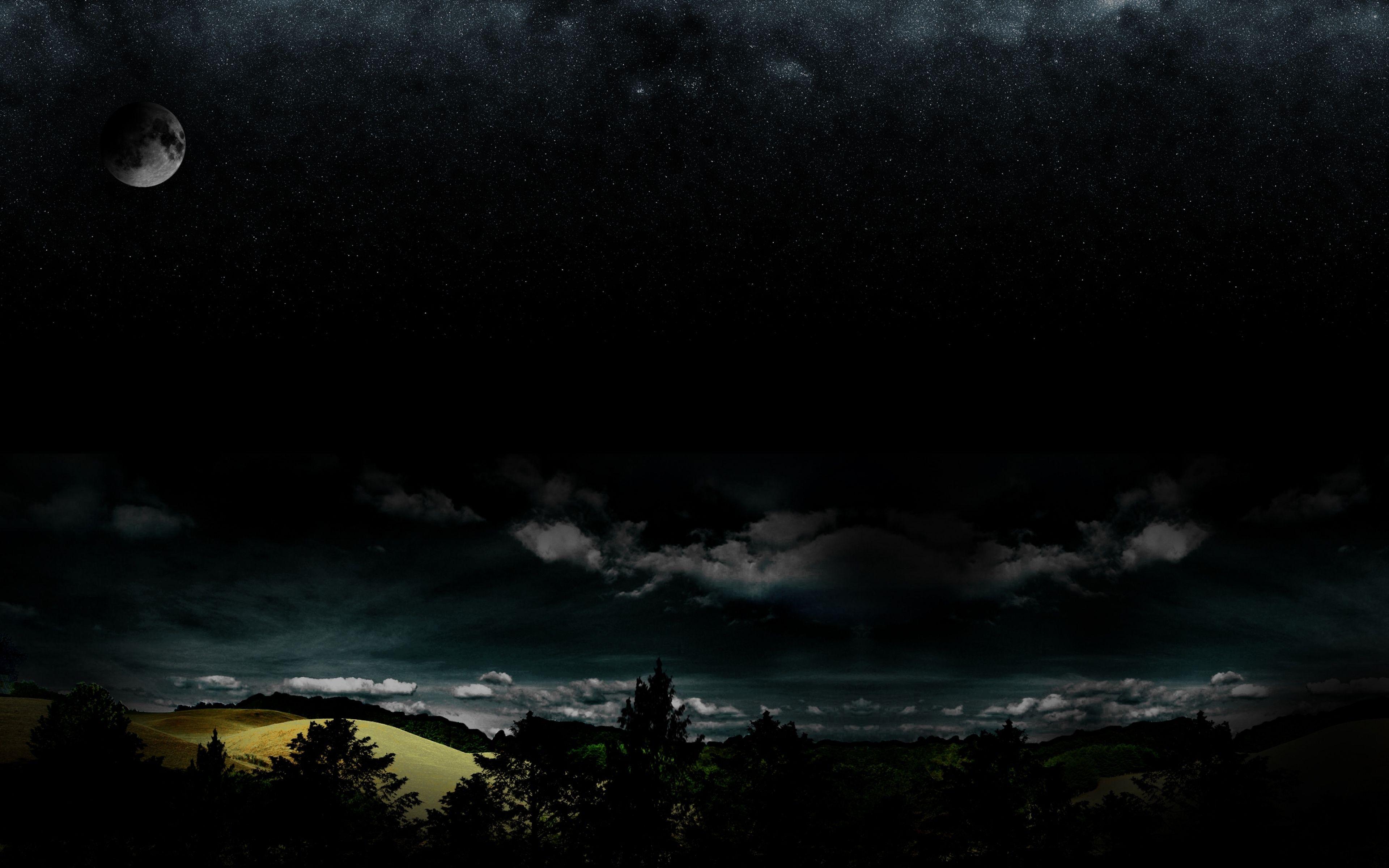 3840x2400 Wallpaper Full Moon Night Darkness Stars Wood Clouds Night Sky Wallpaper Background Clouds