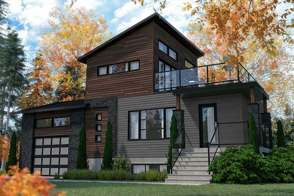 Modern Style House Plan 76547 With 2 Bed 2 Bath 1 Car Garage In 2020 Contemporary House Plans Modern Style House Plans Modern House Plans