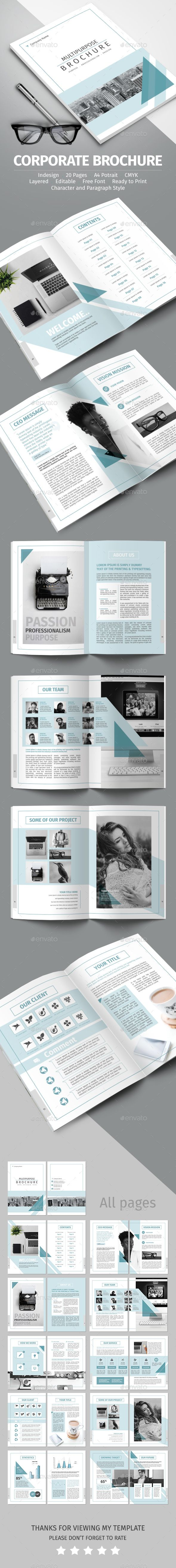20 Pages Corporate Brochure Template Vector EPS, InDesign INDD ...