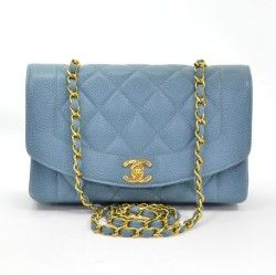 Chanel Blue Quilted Caviar Classic Bag